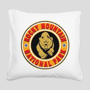 Rocky Mountain Gold Circle Square Canvas Pillow