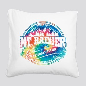 Mt. Rainier Old Circle Square Canvas Pillow