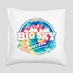 Big Sky Old Circle Black Square Canvas Pillow