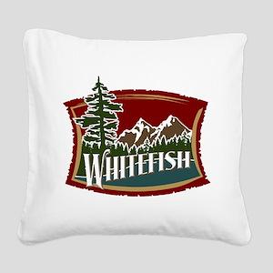Whitefish Lake Mountain Square Canvas Pillow