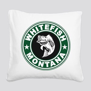 Whitefish Green Circle Square Canvas Pillow