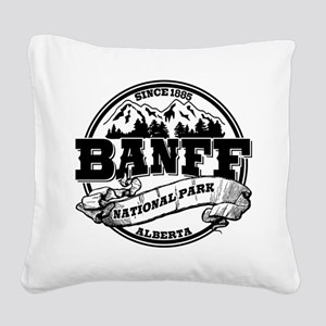 Banff NP Old Circle Black Square Canvas Pillow