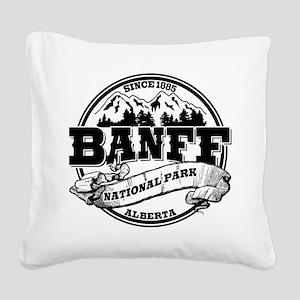 Banff NP Old Circle Black Square Canvas Pillow