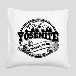 Yosemite Old Circle Black Square Canvas Pillow