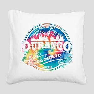 Durango Old Circle Black Square Canvas Pillow