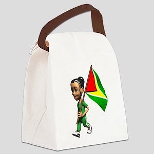 Cute 3D Guyana Flag Canvas Lunch Bag
