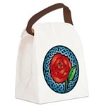 Celtic Rose Stained Glass Canvas Lunch Bag