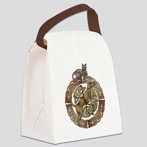 Celtic Cat and Dog Canvas Lunch Bag