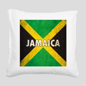 Jamaica Grunge Flag Square Canvas Pillow