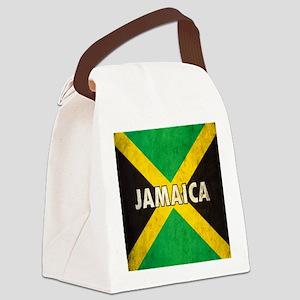 Jamaica Grunge Flag Canvas Lunch Bag