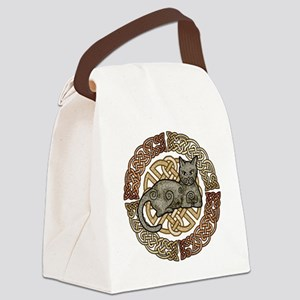 Celtic Cat Canvas Lunch Bag