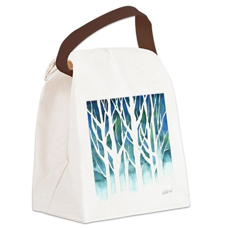 Winter Silhouette Watercolor Canvas Lunch Bag