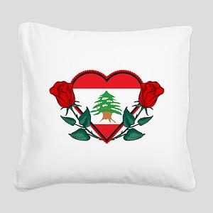 Heart Lebanon Square Canvas Pillow