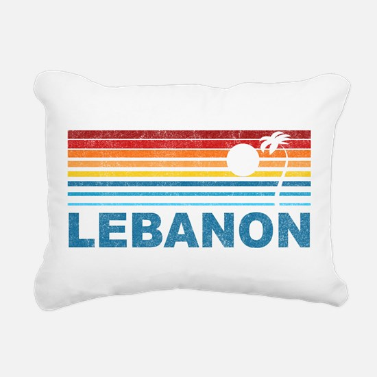 Retro Palm Tree Lebanon Rectangular Canvas Pillow