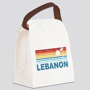Retro Palm Tree Lebanon Canvas Lunch Bag