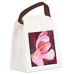 Pink Tulip Watercolor Canvas Lunch Bag