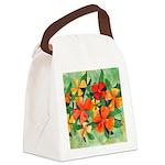 Tropical Flowers Splash Canvas Lunch Bag