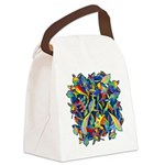 Leaves on Water Watercolor Canvas Lunch Bag