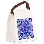 Blue Quilt Watercolor Canvas Lunch Bag