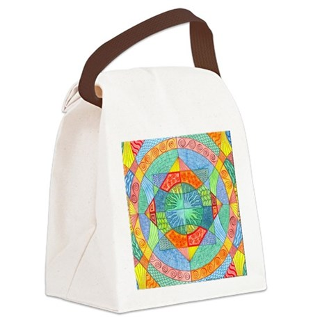 Sacred Geometry Watercolor Canvas Lunch Bag