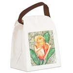Peach Rose Watercolor Canvas Lunch Bag