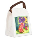 Cat and Moon Watercolor Canvas Lunch Bag