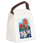 Fish and Flowers Art Canvas Lunch Bag