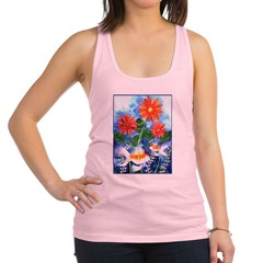 Fish and Flowers Art Racerback Tank Top