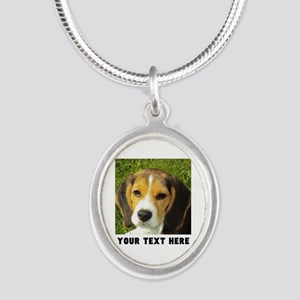 Dog Photo Personalized Silver Oval Necklace