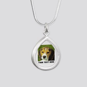 Dog Photo Personalized Silver Teardrop Necklace