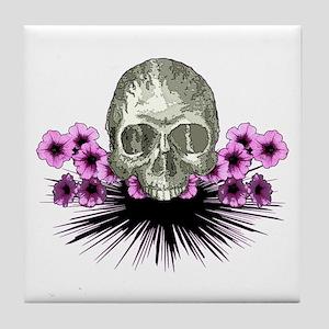 Skull in flowers Tile Coaster