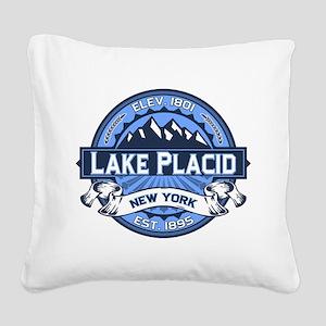 Lake Placid Logo Blue Square Canvas Pillow