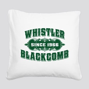 Whistler Blackcomb Old Green Square Canvas Pillow