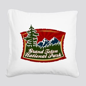 Grand Teton Mountain Tree Logo Square Canvas P