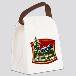 Grand Teton Mountain Tree Logo Canvas Lunch Ba