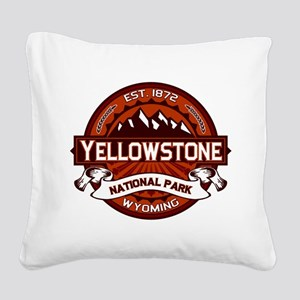 Yellowstone Crimson Square Canvas Pillow