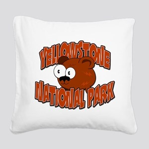 Yellowstone Bear Square Canvas Pillow