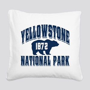 Yellowstone Old Style Blue Square Canvas Pillo