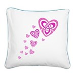 Pink Celtic Hearts Square Canvas Pillow