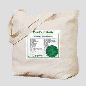 Pearl's Knitwits Knitting Abbreviations Tote Bag