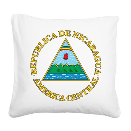 Nicaragua Coat Of Arms Square Canvas Pillow