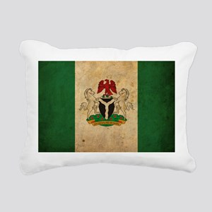 Vintage Nigeria Flag Rectangular Canvas Pillow