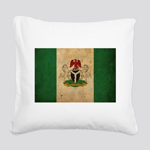 Vintage Nigeria Flag Square Canvas Pillow