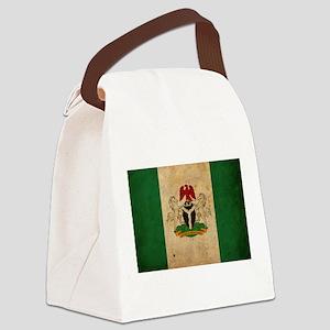Vintage Nigeria Flag Canvas Lunch Bag