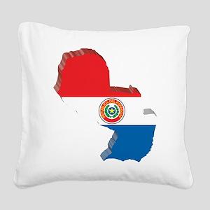 3D Paraguay Map Square Canvas Pillow