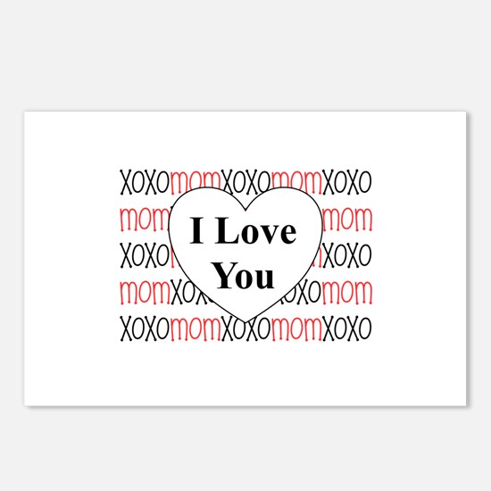 I Love You Mom xoxo Postcards (Package of 8)