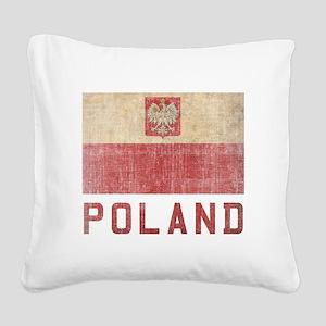 Vintage Poland Square Canvas Pillow