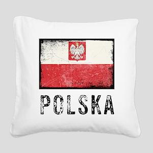 Grunge Polska Square Canvas Pillow