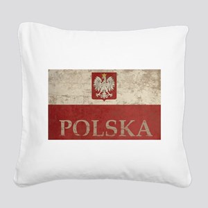 Vintage Polska Square Canvas Pillow
