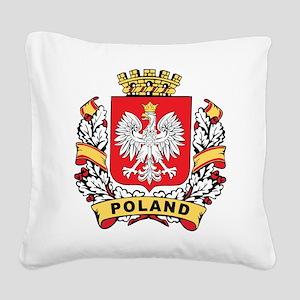 Stylish Poland Crest Square Canvas Pillow